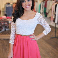 Coral & Lace Belted Dress