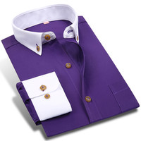 New Spring Men White Collar Dress Shirt Formal Office Classic Button-up Collar Long Sleeve Solid Men Business Casual Shirts