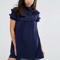 Fashion Union High Neck Dress With Double Frill at asos.com