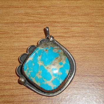 Vintage Native American Small Turquoise Pendant Bright Sky Blue Lots of Matrix