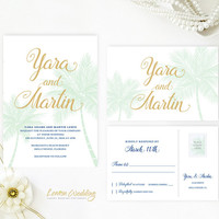 Tropical wedding invitations printed | Beach wedding invitations | Destination wedding | Mint and gold wedding invites | Palm tree cards