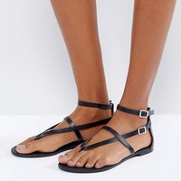 ASOS FORCEFUL Leather Flat Sandals at asos.com