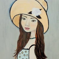 Mixed Media Girl Original Painting. Yellow Hat Brown Hair Artwork, Figurative Female Portrait on Canvas.