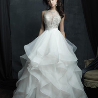 Vimans Nobel Ruffles White Princess Wedding Dress Luxury Beaded Vestido Sexy Scoop Bridal Gown with Sweep Train Button LD367