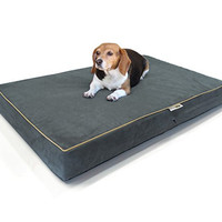 """Large Dog Bed Premium Solid Memory Foam Pet Bed / Dog Mat with Waterproof Cover   Color: Gray , Size: 36""""x28""""x4"""""""