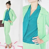 vtg 70s pants coord set matching two piece green houndstooth pattern matching outfit lime green outfit gingham power suit medium med m large