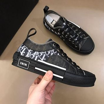 Dior CD mesh lace-up sneakers low-top flat sports hip-hop sneakers letter high-top shoes men and women casual shoes 4
