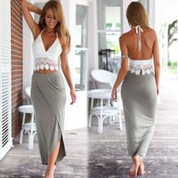 Grey Skirt and White Crochet Top Set