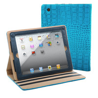 Fashion Matte Croco iPad 2 Compatible Case - Turquoise Color: Turquoise