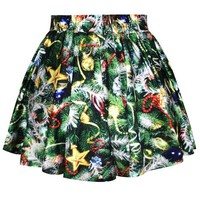 Pink Queen Womens Holiday Season Christmas Santa Xmas Print Mini Tutu Skirt