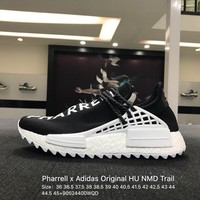 Pharrell x Adidas Original HU Human Race Tr HU NMD Black White D97921 Sport Running Shoes