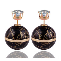New Arrival Colorful Double Sides Pearl Earring Luxurious Stringy Gold Big Ball Gilt-edged Crown Crystal Stud Earrings For Women