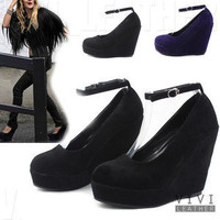 New Celebrity Women's Faux Suede Thin Ankle Strap High Platform Wedge Heel Shoes