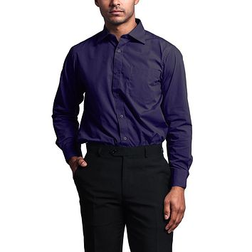 Regular Fit Long Sleeve Dress Shirt - Purple