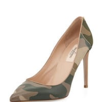 Patchwork Camo Pointed Pump