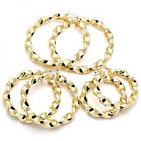 Gold Layered Extra Large Hoop, Twist and Hollow Design, Golden Tone