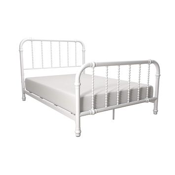 DHP Jenny Lind Metal Bed Frame with Headboard and Footboard, White, Full size