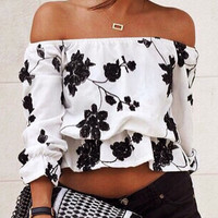 White Floral Print Off Shoulder Long Sleeve Cropped Top
