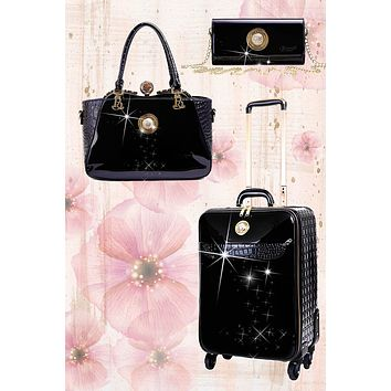 Stunnin' Matching Womens Luggage Bag Set with Crossbody Clutch Spinner Wheels