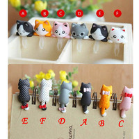 6 Colors Adorable Hanging Bowknot Black Cat Dust Plug 3.5mm Phone Accessory Charm Headphone Jack Earphone Cap iPhone 4 4S 5 iPad HTC Samsung