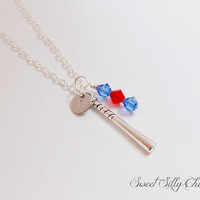 Baseball Necklace with Hand Stamped Player Number or Initial and Team Color Beads, Baseball Mom, Baseball Fan Necklace