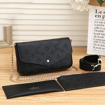 Louis Vuitton LV Women Fashion Crossbody Satchel Set Three Piece bag