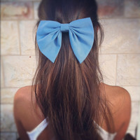 BIG Blue bow unique hair bow by colordrop on Etsy