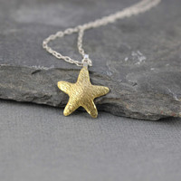 Starfish pendant - Brass, Gold color, Ocean Jewelry, Beach Jewelry, Gifts for her, Gifts under 45