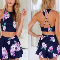 Halter Neck Criss Cross Strappy Back Crop Top And Mini Skirt