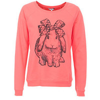 Bright Pink Sparkle Bunny Sweater