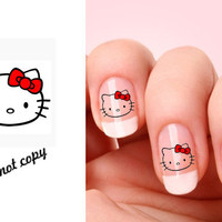 Set of 20 Hello Kitty nail art decals.