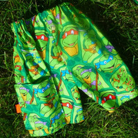 Boys Ninja Turtle Shorts, Boys Shorts, Baby Boys and Toddlers Ninja Turtle Shorts, Pocket Shorts