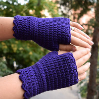 Purple fingerless gloves, crocheted wristwarmers, merino wool armwarmers, office gloves, driving gloves, warm wool mittens, more colors