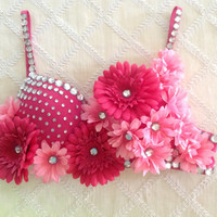 Pink Daisy Rave Bra With Crystals