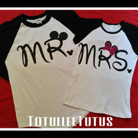 Disney Inspired Couples Baseball TShirts Mr and Mrs with Mouse Ears