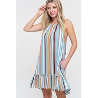 Striped Halter Dress - Emerald
