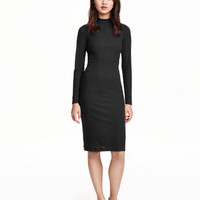 High Neck Long Sleeve Sheath Midi Dress