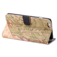 World Map Leather Wallet iPhone Cases for 5S 6 6S Plus Samsung Galaxy S6 Free Shipping