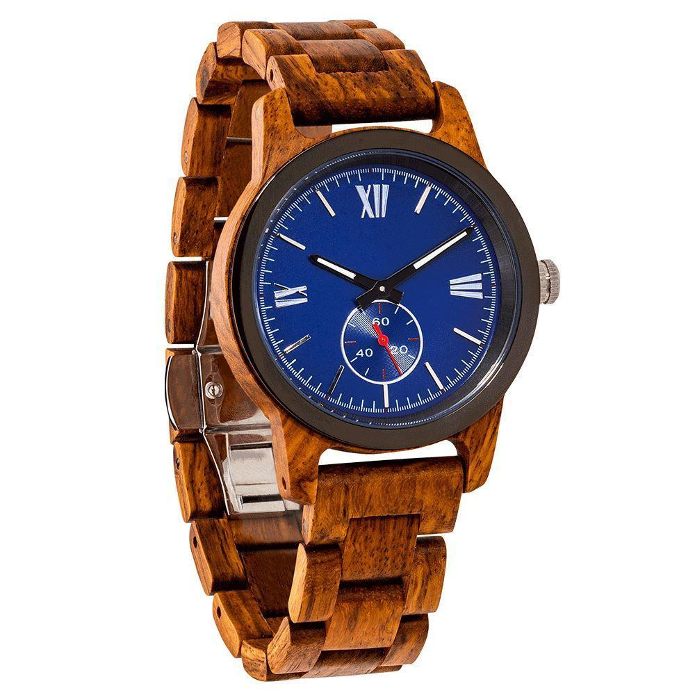 Image of Men's Handcrafted Engraving Ambila Wood Watch - Best Gift Idea!