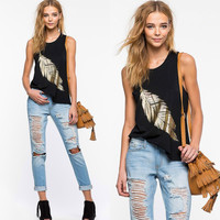Womens Feather Printed Tank Top Comfortable Vest Gift 86