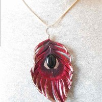 Gorgeous Phoenix Feather Fantasy Pendant with Natural Onyx Cabochon center