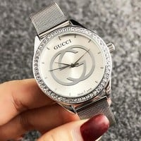 GUCCI Fashion New Diamond Round Shell Women Men Watch Wristwatch
