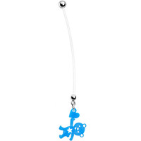 Solid Blue Teddy Bear Love Pregnant Belly Ring | Body Candy Body Jewelry