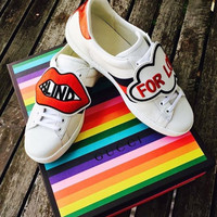 x1love : Gucci Ace embroidered low-top sneaker