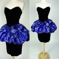 1980s black velvet dress, metallic foil blue tutu peplum, strapless wiggle prom formal cocktail dress, Medium, 8