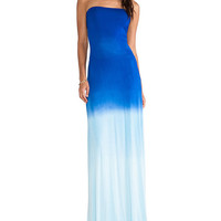Ombre Strapless Cut-Out Back Maxi Dress