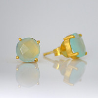 Faceted Round Aqua Seafoam Chalcedony Sterling Silver or Vermeil Gold prong set Stud Post Earrings - March Birthstone