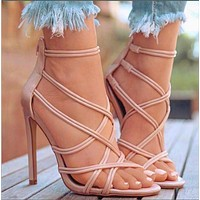 Women Fish mouth Cutout cross Thin belt High heel Sandals pink