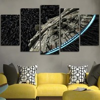 Star Wars Millennium Falcon Wall Art on Canvas Panel Print Poster Framed UNframe