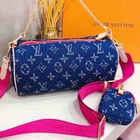 Hipgirls LV New fashion monogram canvas chain shoulder bag crossbody bag handbag two piece suit Blue